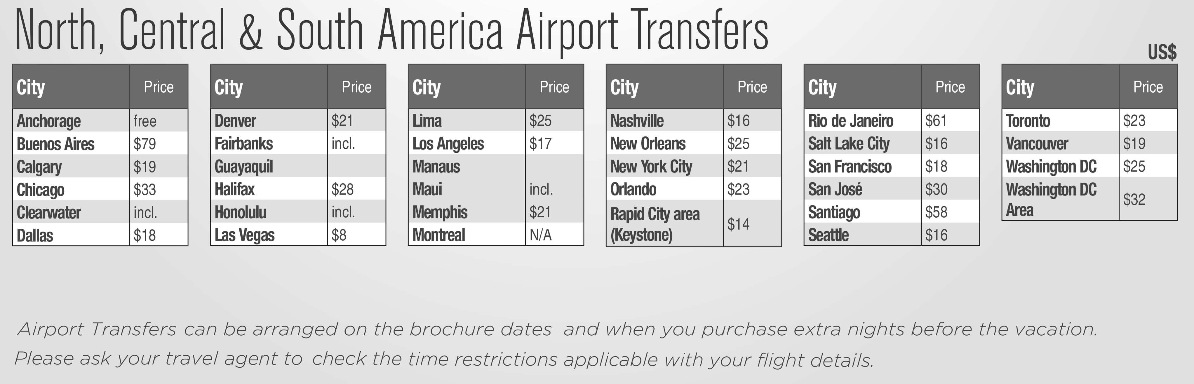 North America Extra Night Pricing